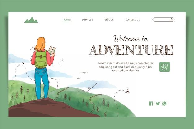 Página de inicio de aventura dibujada a mano