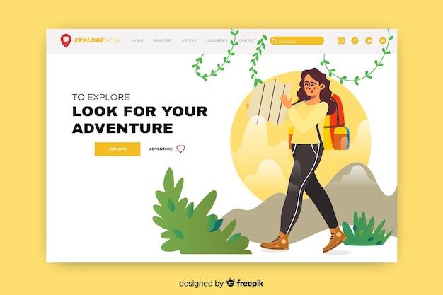 Página de inicio de aventura con mujer emocionada