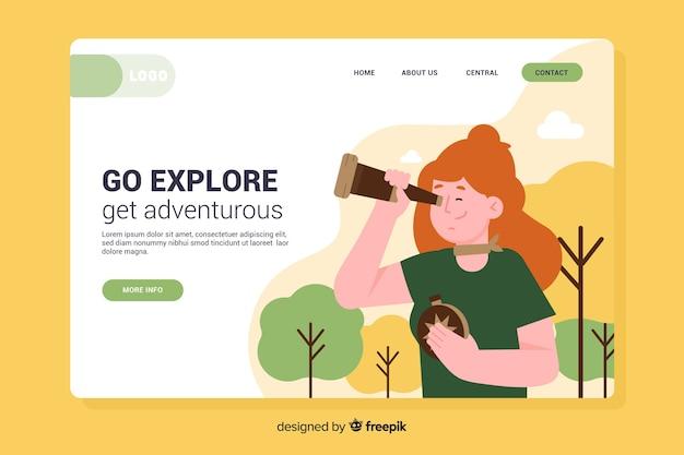 Página de inicio de aventura de plantilla