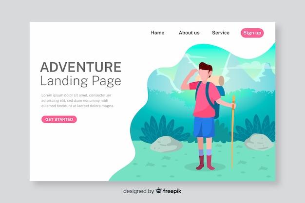 Página de inicio de aventura con senderismo