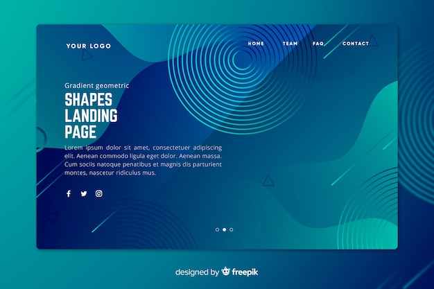 Página de inicio azul degradado con formas geométricas desvanecidas