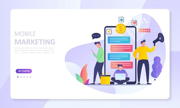 Página de inicio de banner de mobile marketing