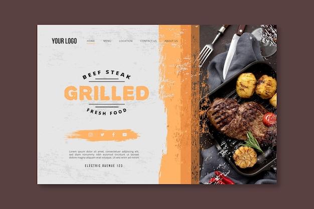 Página de inicio de barbacoa de comida fresca a la parrilla