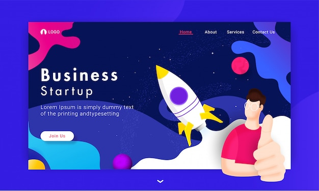 Página de inicio basada en business start up con el hombre mostrando el signo del pulgar hacia arriba y el lanzamiento exitoso de un cohete en el universo abstracto.