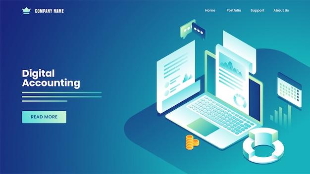 Página de inicio basada en contabilidad digital con recepción de notificación de datos estadísticos de la computadora portátil en azul.