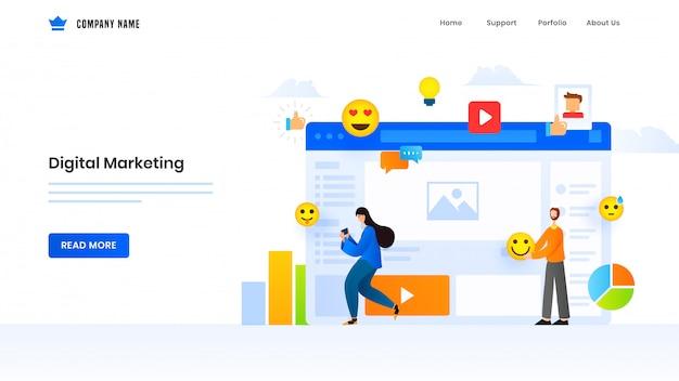 Página de inicio basada en marketing digital con hombre y mujer usando elementos de redes sociales en línea.
