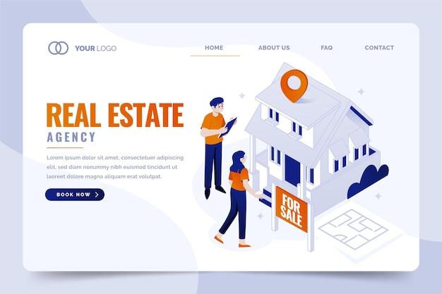 Página de inicio de bienes raíces de diseño isométrico