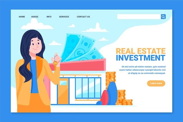 Página de inicio de bienes raíces de diseño plano