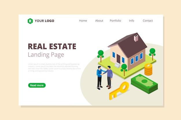 Página de inicio de bienes raíces de estilo isométrico