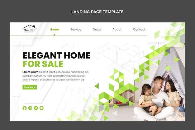 Página de inicio de bienes raíces geométrica abstracta de diseño plano