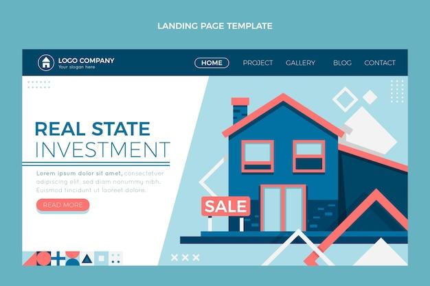 Página de inicio de bienes raíces geométrica abstracta plana