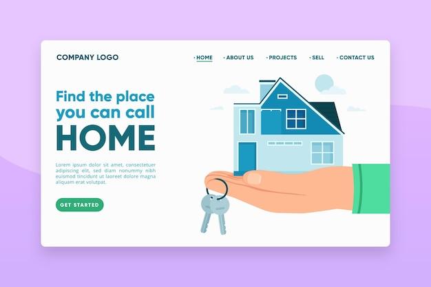 Página de inicio de bienes raíces con ilustraciones