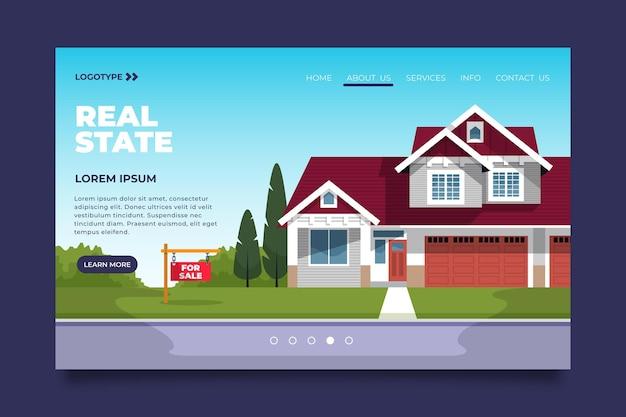 Página de inicio de bienes raíces ilustrada