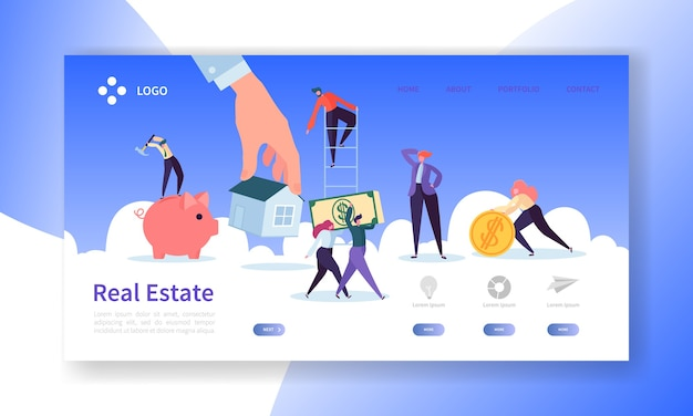 Página de inicio de bienes raíces. inversión en banner de propiedad con personajes de personas que compran la plantilla de sitio web de apartamentos.