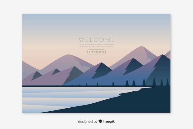 Página de inicio de bienvenida con paisaje degradado