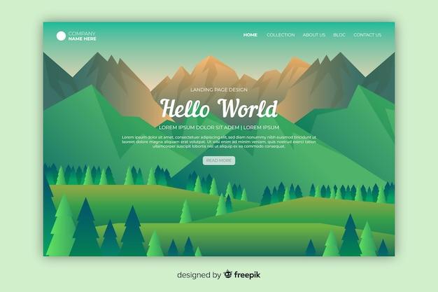 Página de inicio de bienvenida con paisaje verde degradado