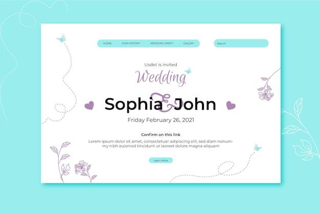 Página de inicio de boda con adornos florales