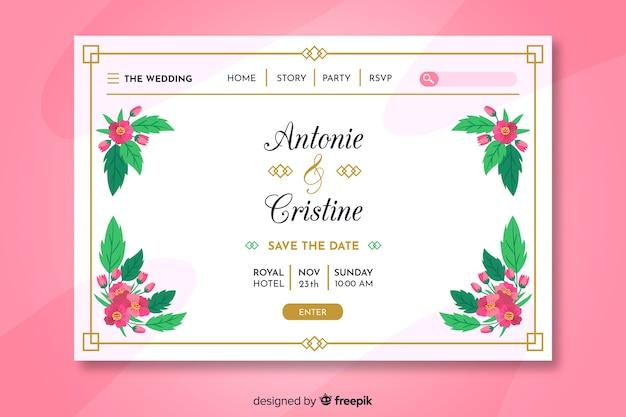 Página de inicio de boda colorida