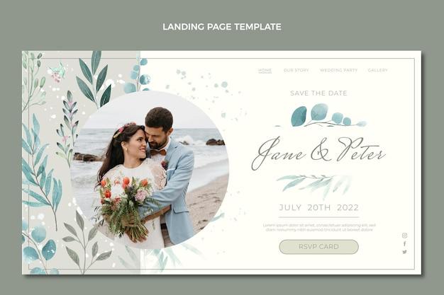 Página de inicio de boda dibujada a mano en acuarela