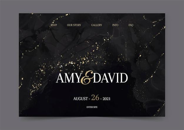 Página de inicio de boda con diseño negro y dorado pintado a mano