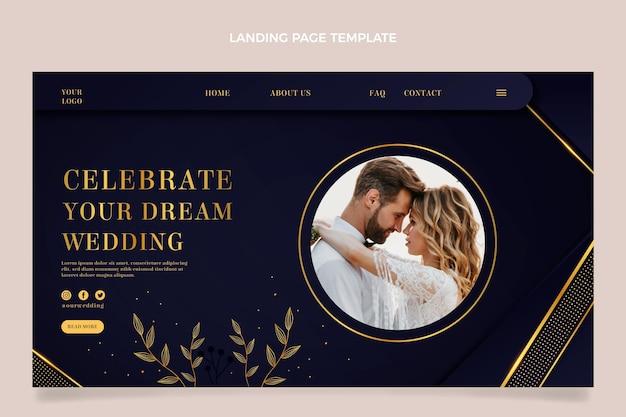 Página de inicio de boda dorada de lujo realista