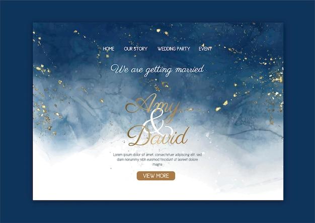 Página de inicio de boda elegante con diseño de acuarela pintado a mano
