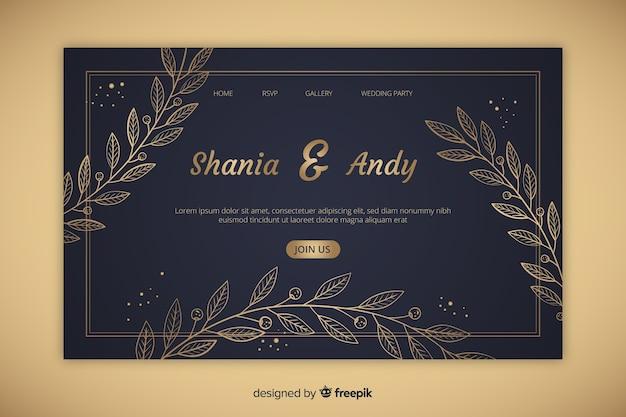 Página de inicio de boda elegante dorada