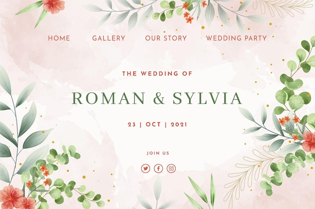 Página de inicio de boda de estilo floral