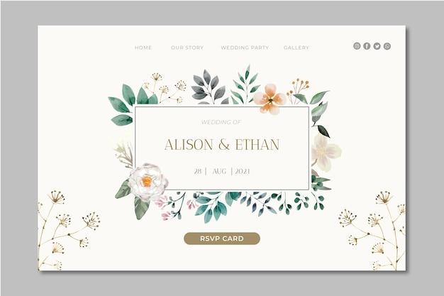 Página de inicio de boda floral