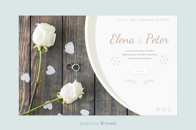 Página de inicio de boda con plantilla de foto