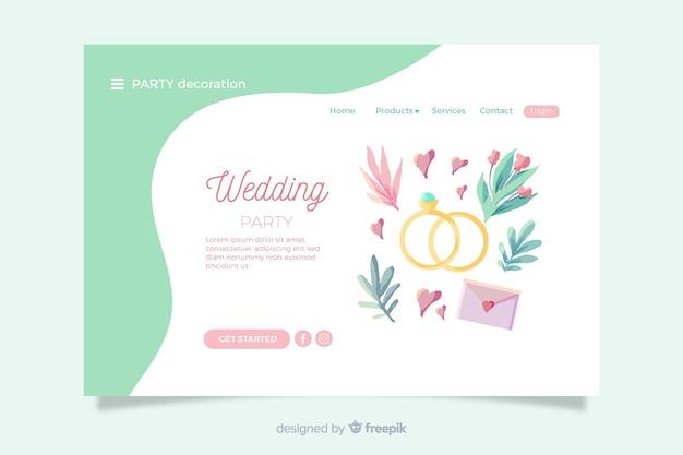 Página de inicio de bodas con elementos encantadores