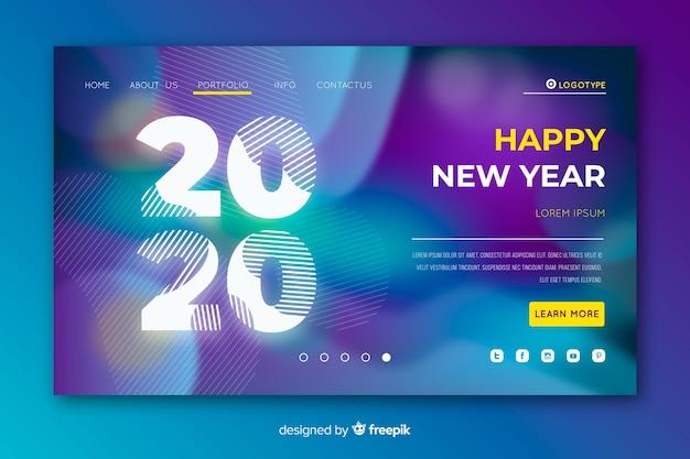 Página de inicio borrosa de año nuevo