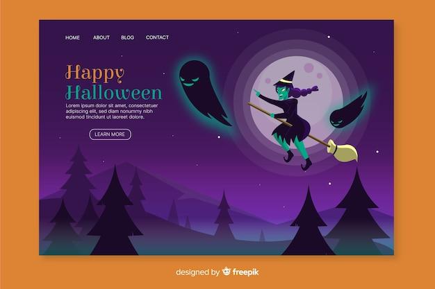 Página de inicio de bruja de halloween plana