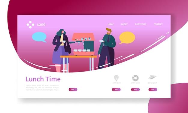 Página de inicio de business coffee break. banner de tiempo de almuerzo con plantilla de sitio web de personajes de personas planas.