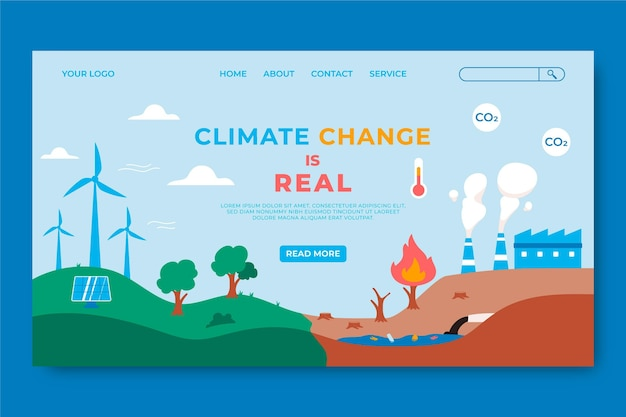 Página de inicio de cambio climático plana dibujada a mano