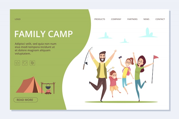 Página de inicio del campamento familiar. familia feliz de dibujos animados, banner de tiempo de aventura