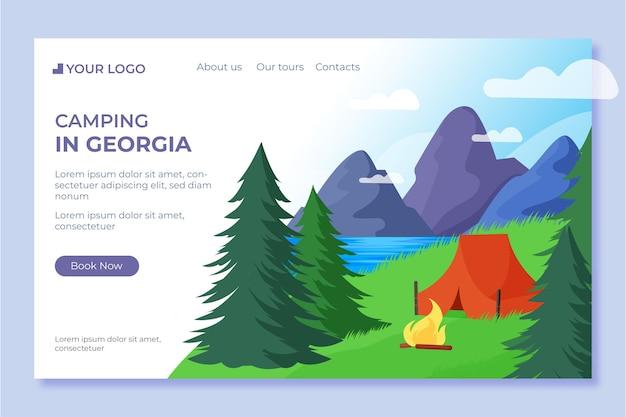 Página de inicio de camping de diseño plano con carpa