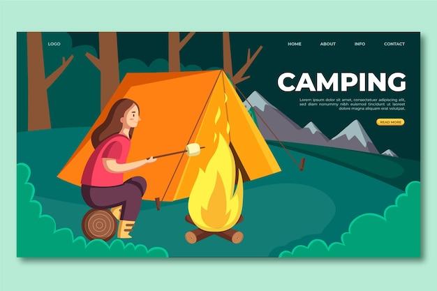 Página de inicio de camping de diseño plano con tienda y mujer