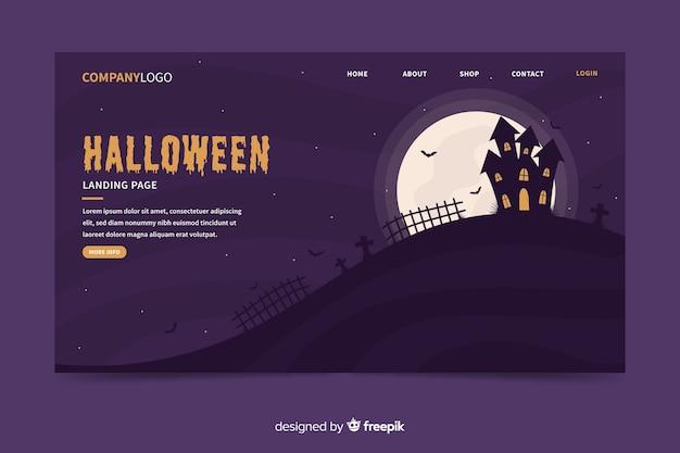 Página de inicio de casa embrujada de halloween plana
