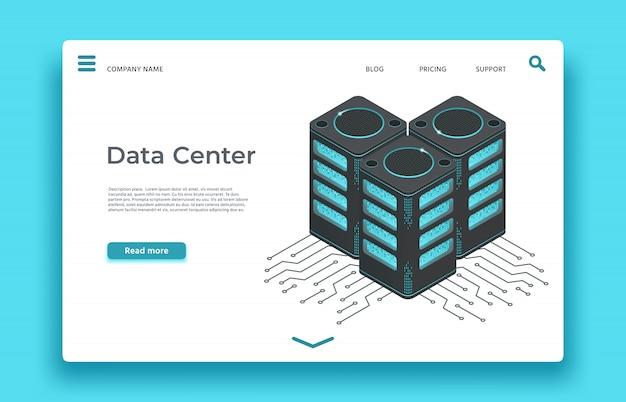Página de inicio del centro de datos. servidores isométricos