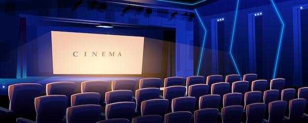 Página de inicio de cine sala de conciertos de películas con filas de sillones e interior de pantalla luminosa