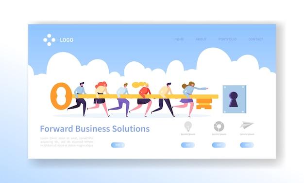 Página de inicio clave de éxito empresarial