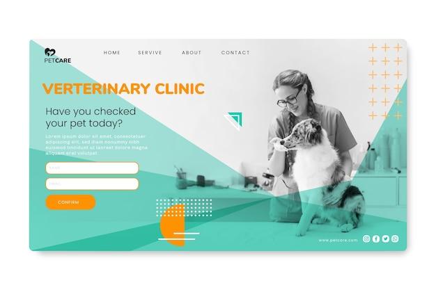 Página de inicio de la clínica veterinaria y mascotas saludables