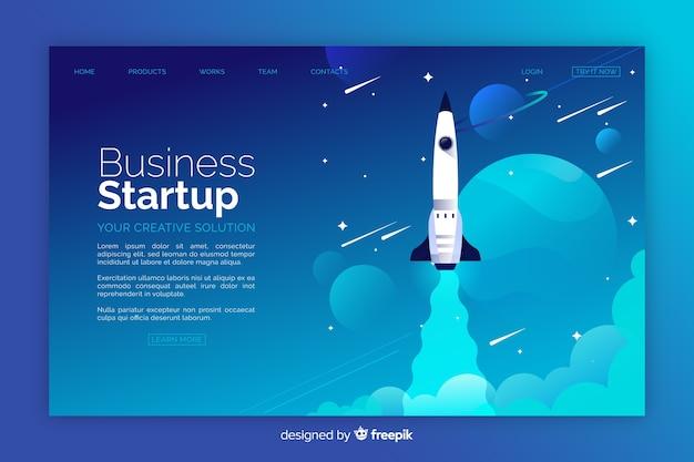 Página de inicio de cohetes de inicio de negocios