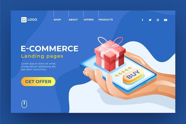Página de inicio de comercio electrónico isométrica comprando regalos