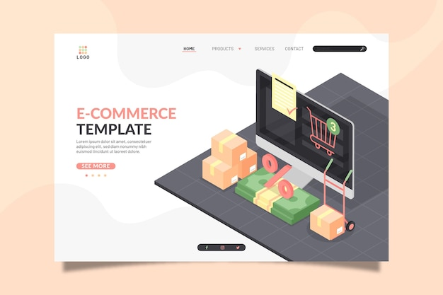 Página de inicio de comercio electrónico isométrica