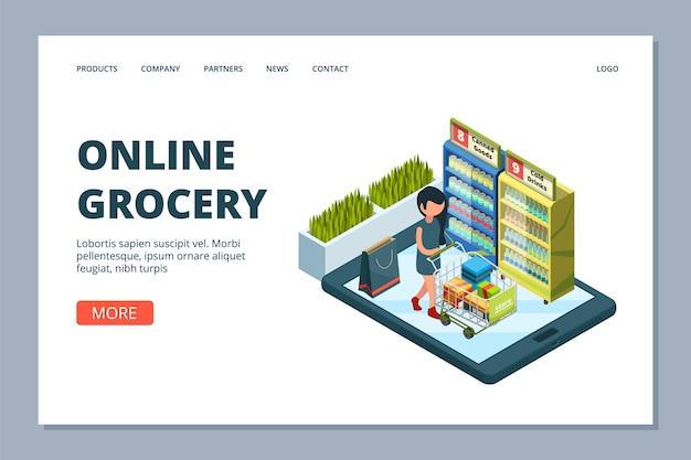 Página de inicio de comestibles en línea. mujer isométrica con carrito de compras, concepto de tienda de comestibles en línea, tienda y compra en línea