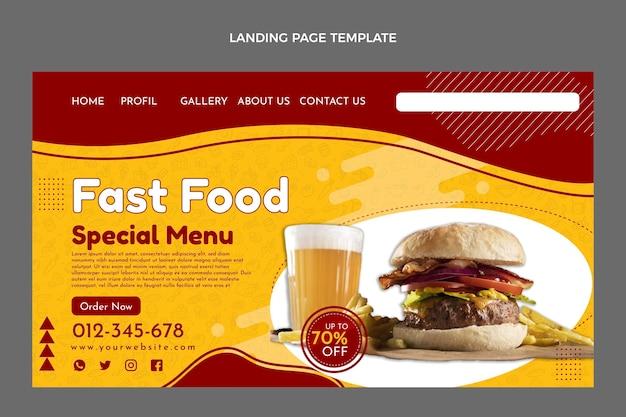 Página de inicio de comida rápida plana