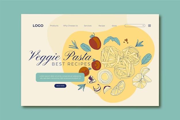 Página de inicio de comida vegetariana de diseño plano dibujado a mano