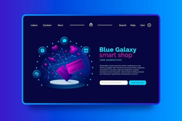 Página de inicio de compras futurista en línea con tema de galaxia